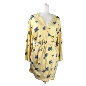 Victoria's Secret Yellow Floral Cotton Robe Sz M